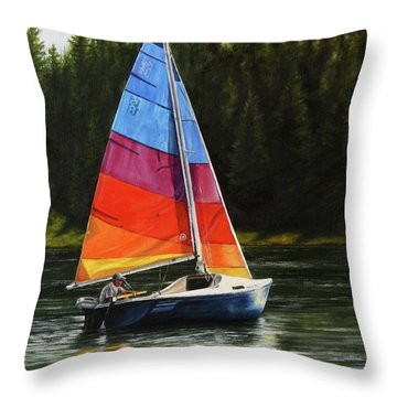 Sailing On Flathead Throw Pillow