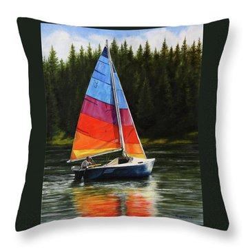 Sailing On Flathead Throw Pillow by Kim Lockman