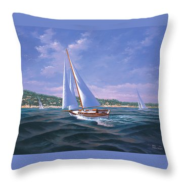 Sailing On Monterey Bay Throw Pillow