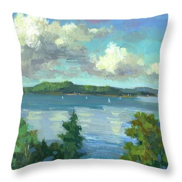 Sailing On Puget Sound Throw Pillow by Diane McClary
