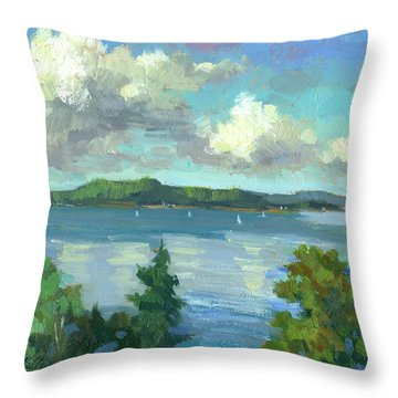 Sailing On Puget Sound Throw Pillow