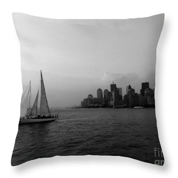 Sailing On The Hudson Throw Pillow by Avis  Noelle