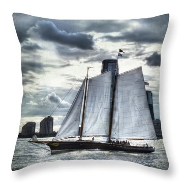Sailing On The Hudson Throw Pillow