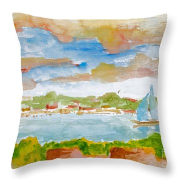 Sailing On The River Throw Pillow
