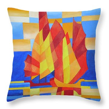 Throw Pillow featuring the painting Sailing On The Seven Seas So Blue by Tracey Harrington-Simpson