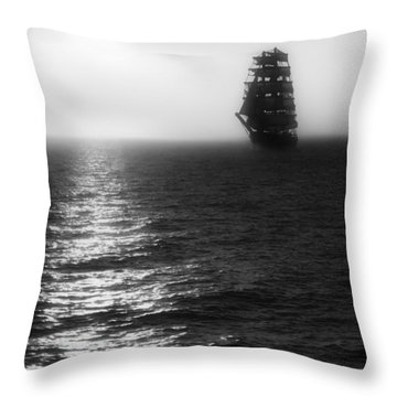 Sailing Out Of The Fog - Black And White Throw Pillow