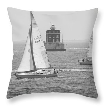 Sailing Past Ledge Light - Black And White Throw Pillow