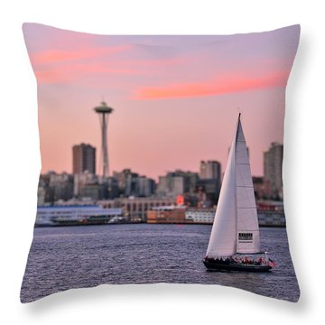 Sailing Puget Sound Throw Pillow by Adam Romanowicz