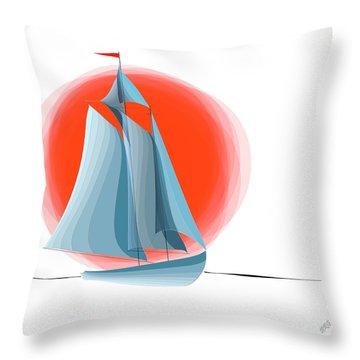 Sailing Red Sun Throw Pillow