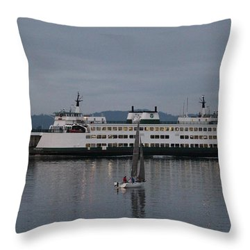 Throw Pillow featuring the photograph Sailing Regatta And Issaquah Ferry by E Faithe Lester