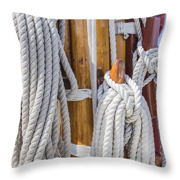 Throw Pillow featuring the photograph Sailing Rope 4 by Leigh Anne Meeks