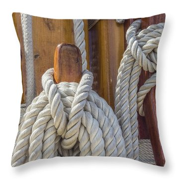 Throw Pillow featuring the photograph Sailing Rope 5 by Leigh Anne Meeks