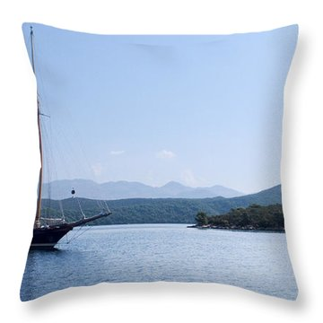 Sailing Ship In The Adriatic Islands Throw Pillow