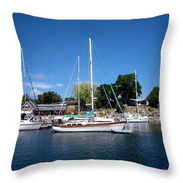 Sailing The Blue Waters Throw Pillow