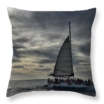Sailing The Caribbean Throw Pillow by Judy Wolinsky