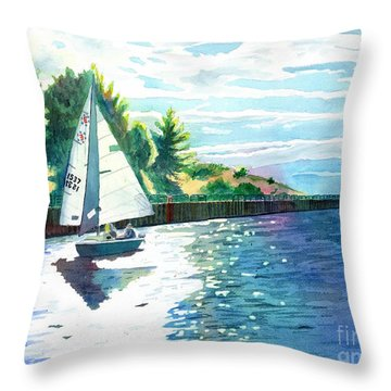 Sailing The Channel Throw Pillow