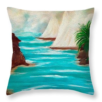 Sailing The Coast Of California Throw Pillow by Sherri's Of Palm Springs