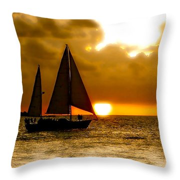 Sailing The Keys Throw Pillow by Iconic Images Art Gallery David Pucciarelli