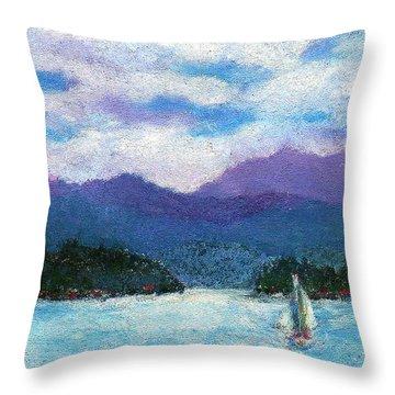 Sailing The Lake Throw Pillow by David Patterson