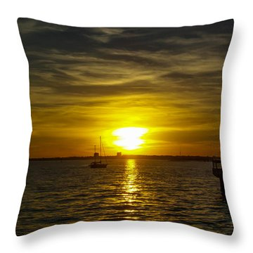 Sailing The Sunset Throw Pillow
