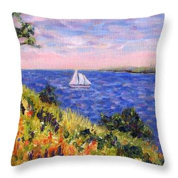 Sailing Through Belfast Maine Throw Pillow by Pamela Parsons