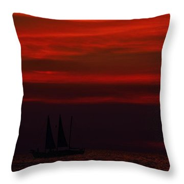 Throw Pillow featuring the photograph Sailing Through The After Glow by Richard Zentner