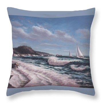 Sailing Toward Point Lobos Throw Pillow