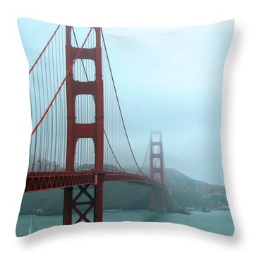 Sailing Under The Golden Gate Bridge Throw Pillow