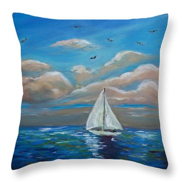Sailing With My Dad Throw Pillow by Linda Olsen