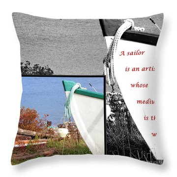Sailor - Wind - Water - Boats Throw Pillow by Barbara Griffin