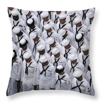 Sailors Bow Their Heads During A Change Throw Pillow
