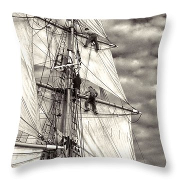 Sailors In Rigging Of Tall Ship Throw Pillow