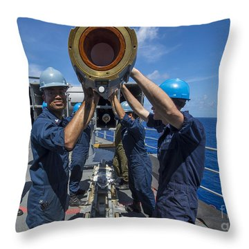 Sailors Load Rim-7 Sea Sparrow Missiles Throw Pillow by Stocktrek Images