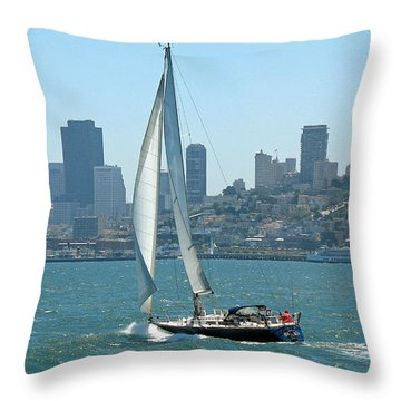Sailors View Of San Francisco Skyline Throw Pillow by Connie Fox