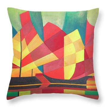 Throw Pillow featuring the painting Sails And Ocean Skies by Tracey Harrington-Simpson