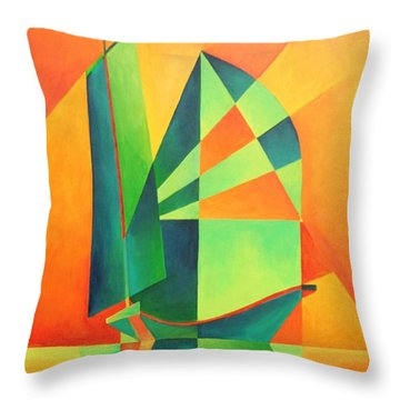 Throw Pillow featuring the painting Sails At Sunrise by Tracey Harrington-Simpson