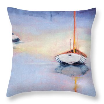 Sails Down - Evening Stillness Throw Pillow by Trina Teele