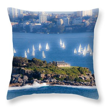 Throw Pillow featuring the photograph Sails Out To Play by Miroslava Jurcik