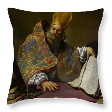 Saint Ambrose Throw Pillow by Claude Vignon