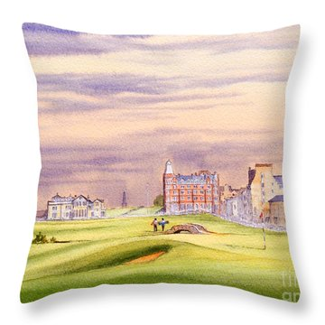 Saint Andrews Golf Course Scotland - 17th Green Throw Pillow by Bill Holkham