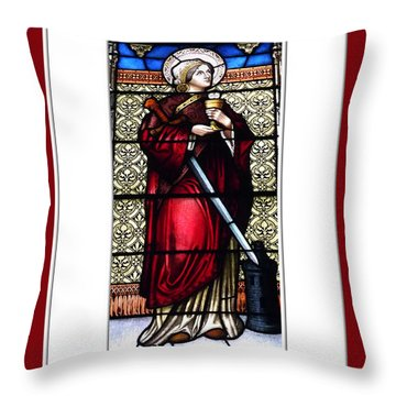 Throw Pillow featuring the photograph Saint Barbara Stained Glass Window by Rose Santuci-Sofranko
