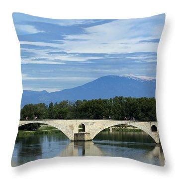 Saint Benezet Bridge Over The River Rhone. View On Mont Ventoux. Avignon. France Throw Pillow