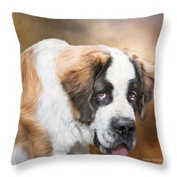 Saint Bernie Throw Pillow by Carol Cavalaris