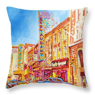 Throw Pillow featuring the painting Saint Catherine Street Montreal by Carole Spandau