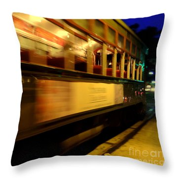 New Orleans Saint Charles Avenue Street Car In  Louisiana #7 Throw Pillow by Michael Hoard