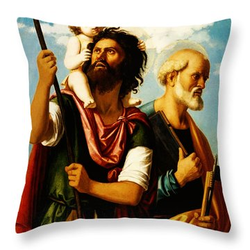 Saint Christopher With Saint Peter Throw Pillow by Bill Cannon