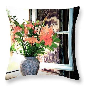 Throw Pillow featuring the photograph Saint Emilion Window by Joan  Minchak