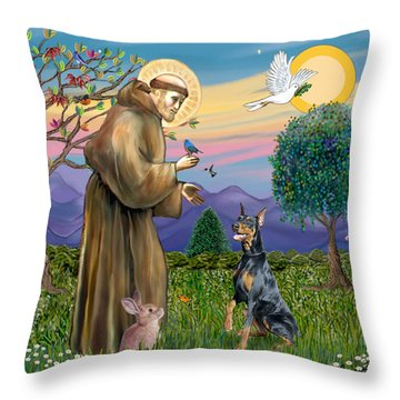 Saint Francis And Doberman Pinscher Throw Pillow by Jean Fitzgerald