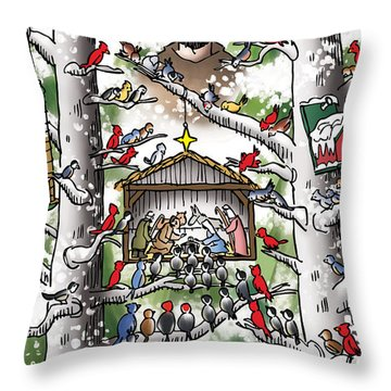 St. Francis And The Birds Throw Pillow