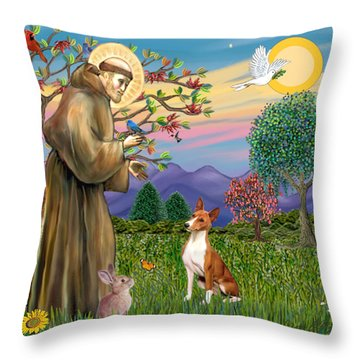 Saint Francis Blesses A Basenji Throw Pillow by Jean Fitzgerald